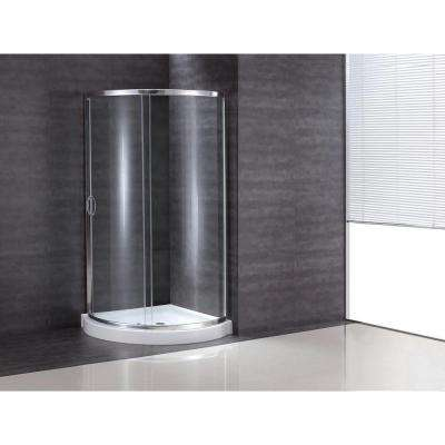 34 in. x 34 in. x 76 in. Shower Kit with Reversible Sliding Door and Shower Base
