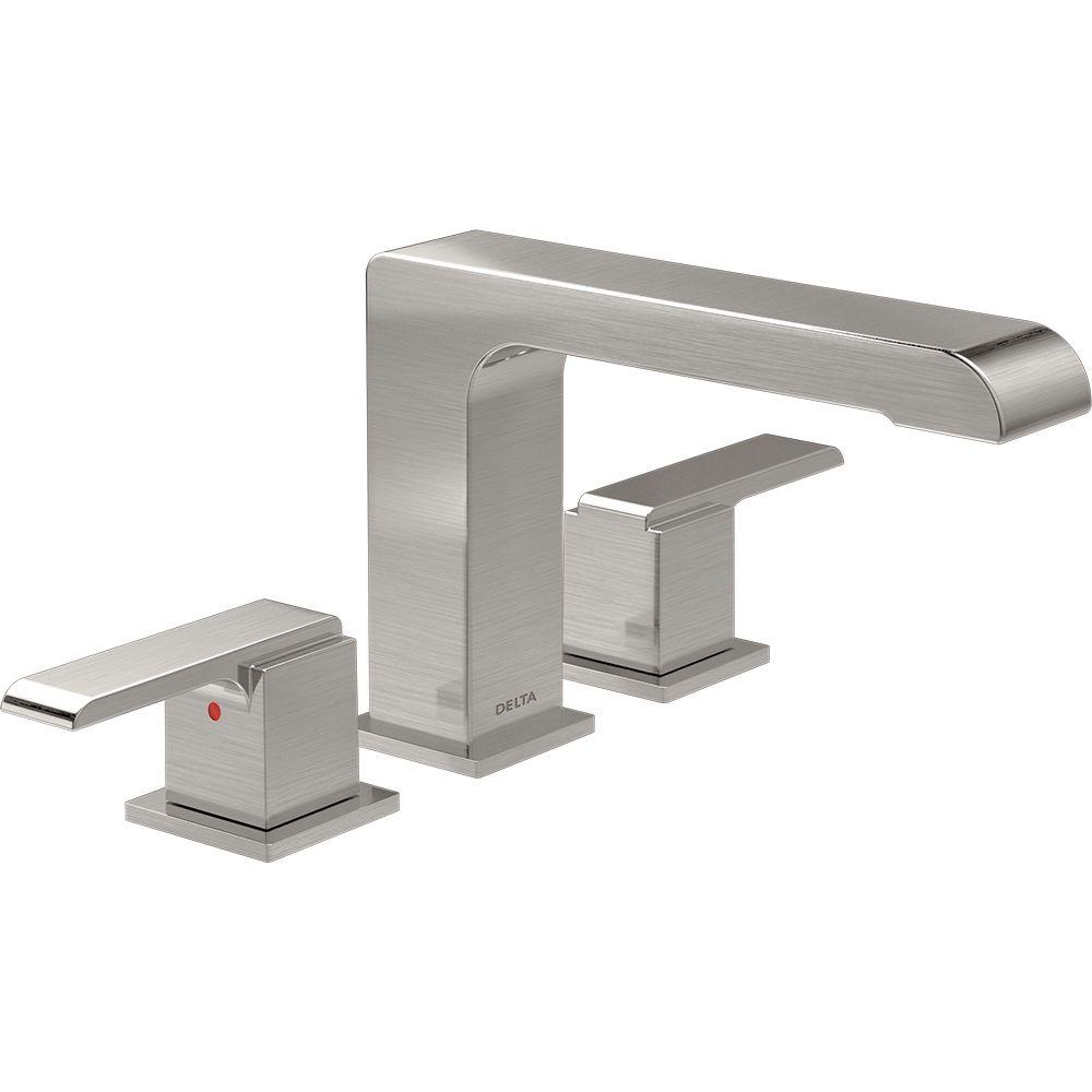 Ara 2-Handle Deck-Mount Roman Tub Faucet Trim Kit in Stainless (Valve