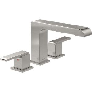 Ara 2-Handle Deck-Mount Roman Tub Faucet Trim Kit in Stainless (Valve Not Included)