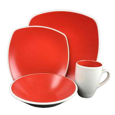 Novastone 16-Piece Red Square Dinnerware Set