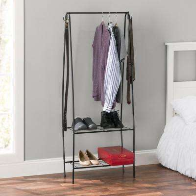 Freestanding 14 in. x 60 in. Black Garment Rack