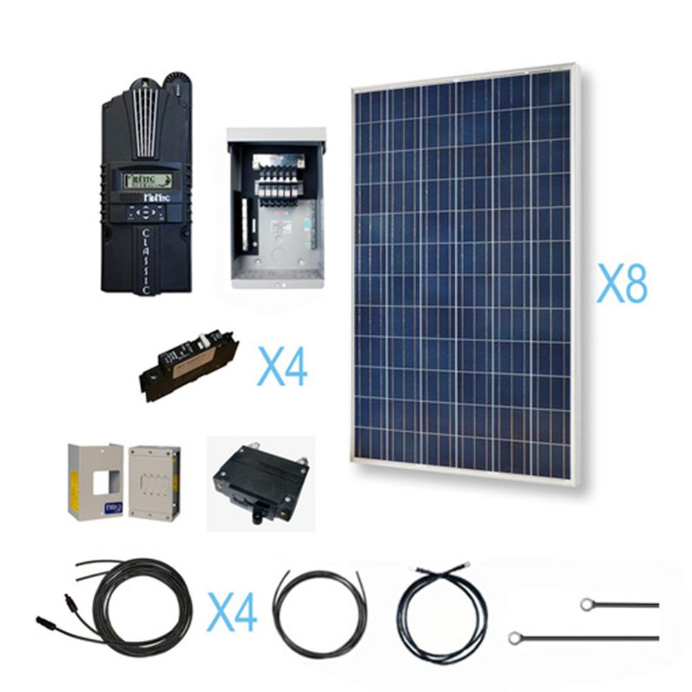 Renogy 2400-Watt 48-Volt Polycrystalline Solar Cabin Kit for Off-Grid Solar