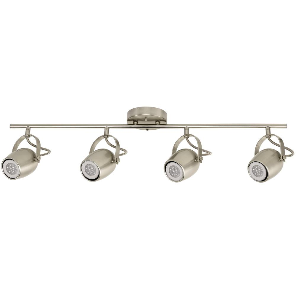 Samara Collection 4-Light Brushed Nickel Track Lighting with Dimmable 50-Watt