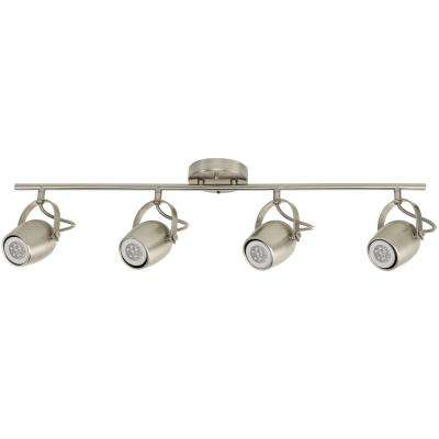 Samara 4-Light Brushed Nickel Track Lighting with Dimmable 50-Watt LED GU10 Bulb Included