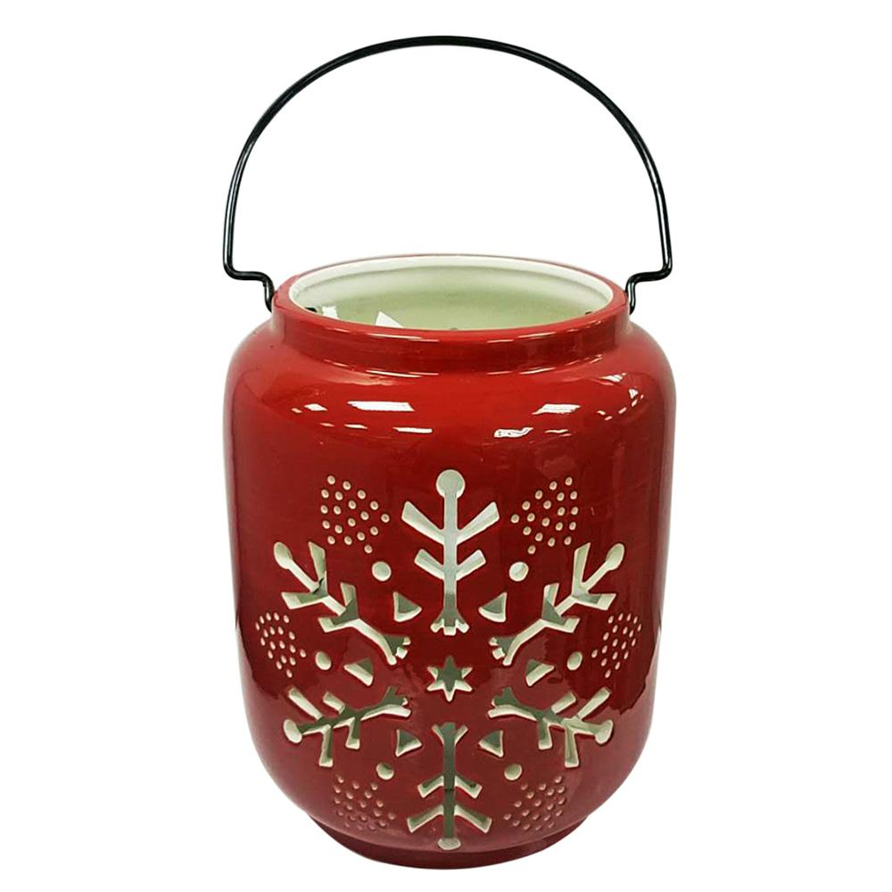 Home Accents Holiday 8 in. Red Snowflake Warm Tidings Christmas Luminary