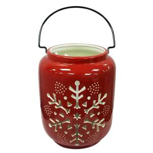 8 in. Red Snowflake Warm Tidings Christmas Luminary
