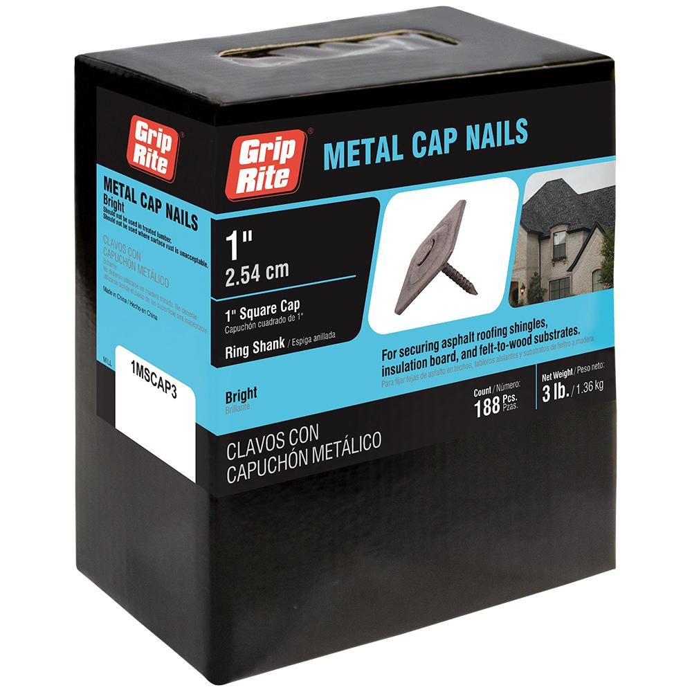 Grip Rite 12 X 1 In Metal Square Cap Roofing Nails 3 Lb Pack 1mscap3 The Home Depot