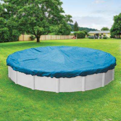 Econo Mesh 33 ft. Pool Size Round Blue Mesh Winter Above Ground Pool Cover