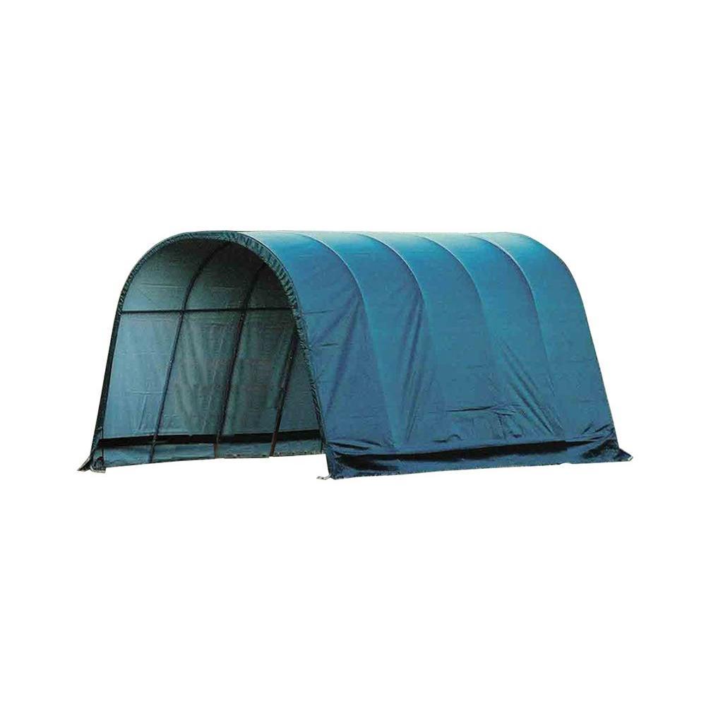 12 ft. W x 20 ft. D x 10 ft. H Green Cover Round Style Run-in Shelter
