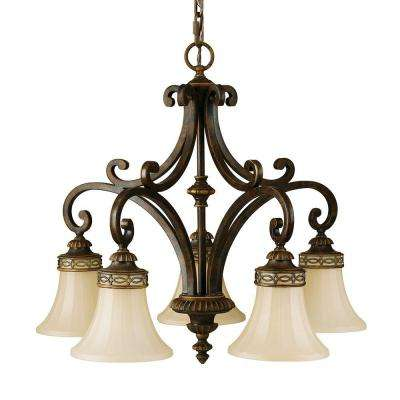 Drawing Room 5-Light Walnut Kitchen Chandelier with Glass Shade