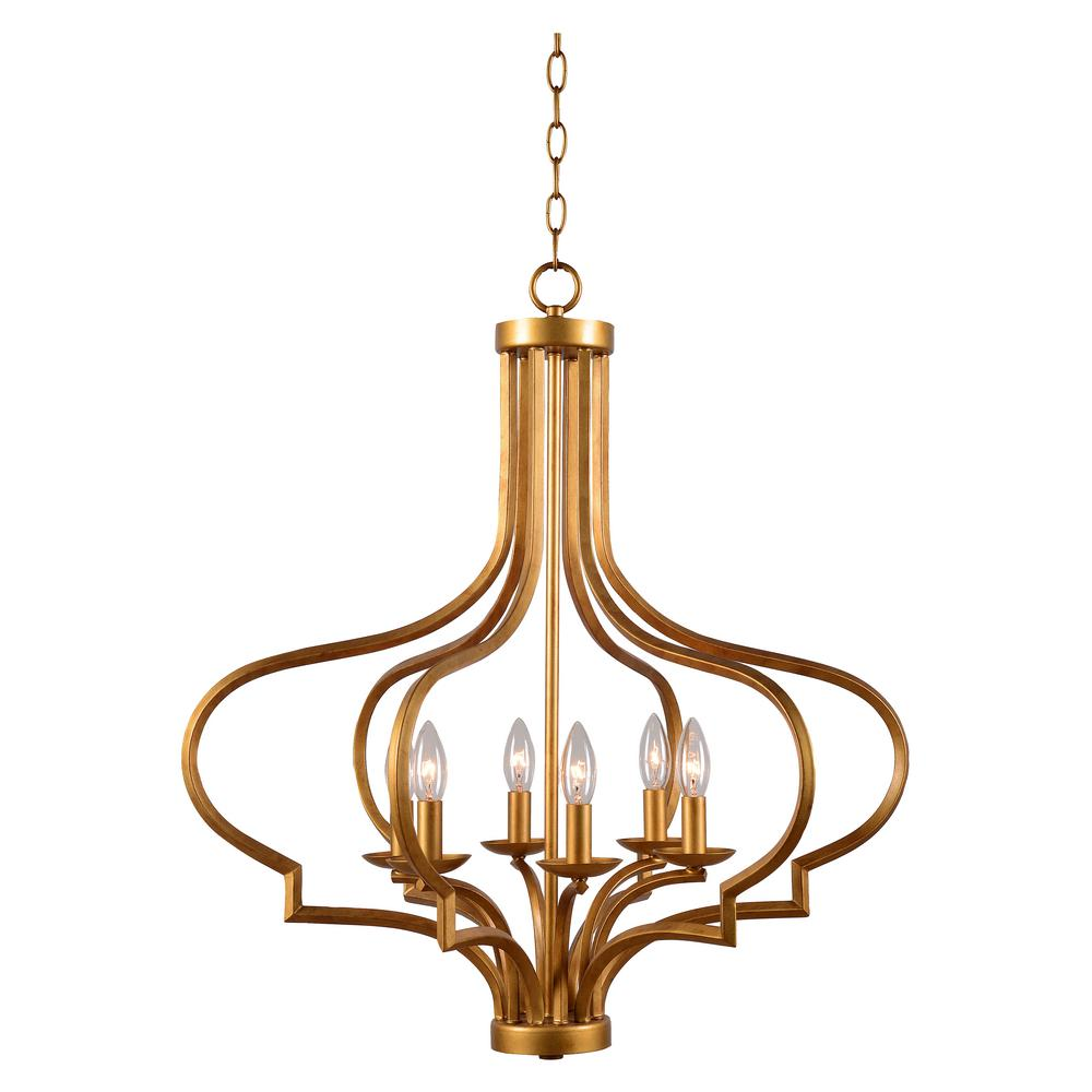 Gold cage chandeliers lighting the home depot morocco 6 light gold chandelier aloadofball Images
