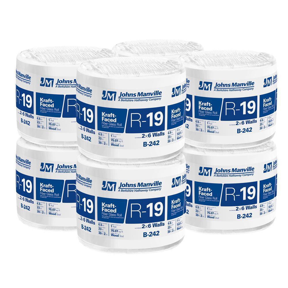R-19 Kraft Faced Fiberglass Insulation Roll 23 in. x 39.2 ft. (8-Bags)