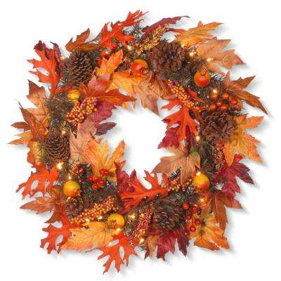 24 in. Maple Wreath with Clear Lights