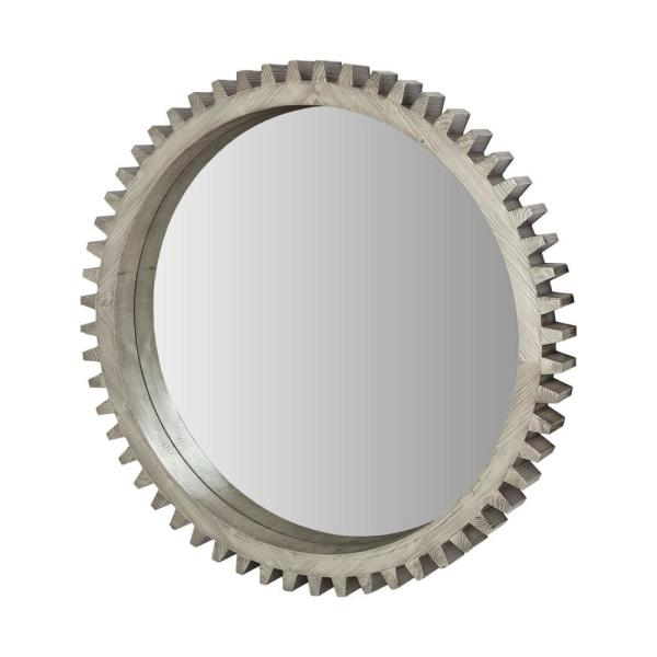 Large Round Silver/ Wood Contemporary Mirror (44.0 in. H x 44.0 in. W)