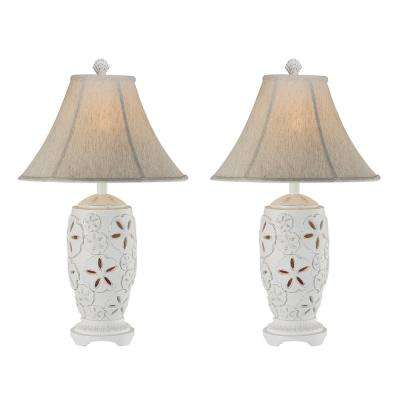 29 in. Cottage White Indoor Table Lamp Set