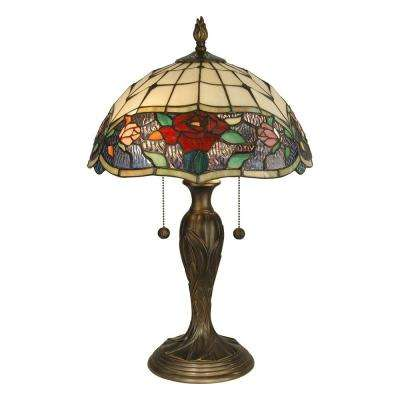 21.75 in. Rose Art Glass Table Lamp with Dark Antique Brass Base