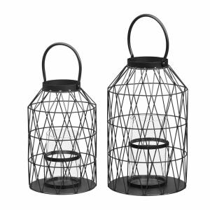 Home Decorators Collection Black Wire Candle Hanging or Tabletop Lantern (Set of 2)