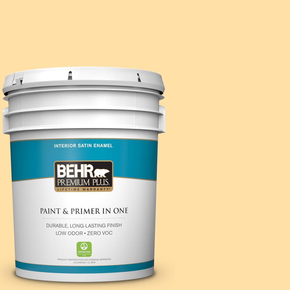 BEHR Premium Plus 5-gal. #310A-3 Manila Tint Zero VOC Satin Enamel Interior Paint