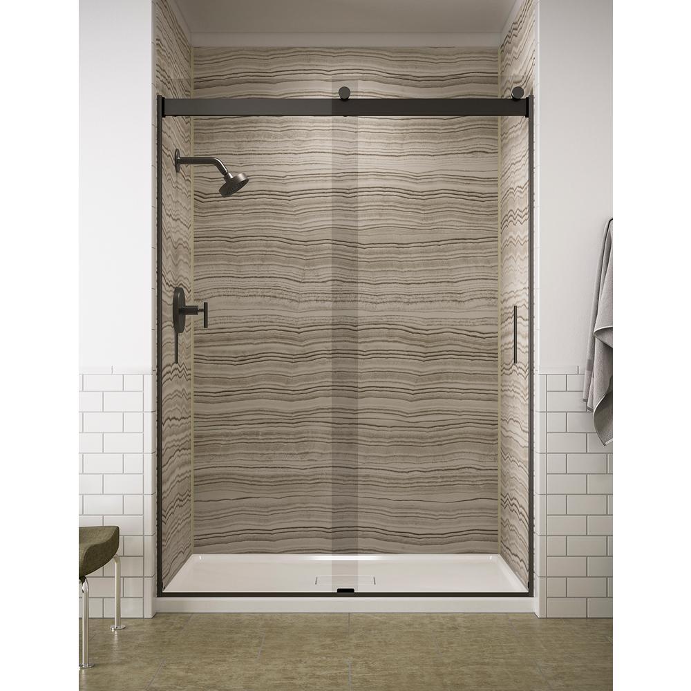 Levity 59.625 in. W x 82 in. H Frameless Sliding Shower Door in Anodized Dark Bronze