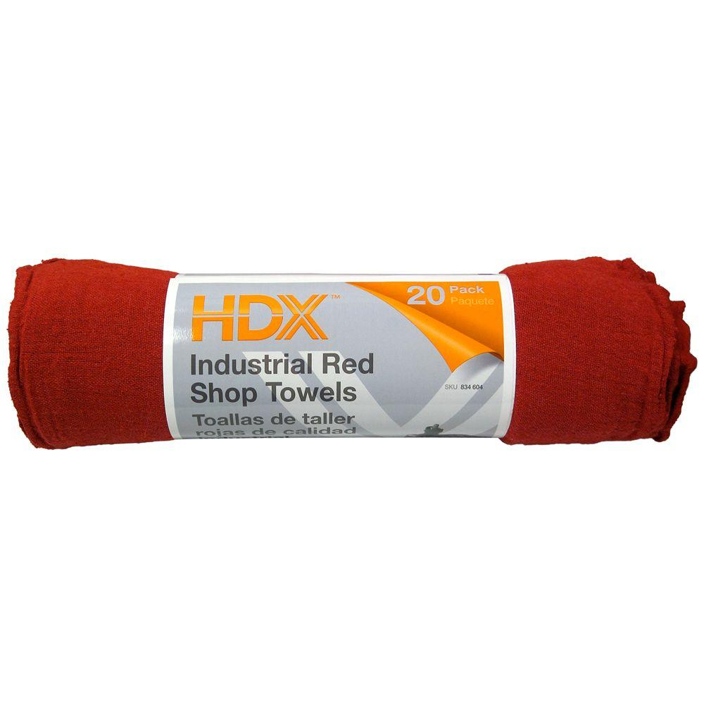 20-Count 12 in. x 14 in. Red Shop Towels (6-Pack)