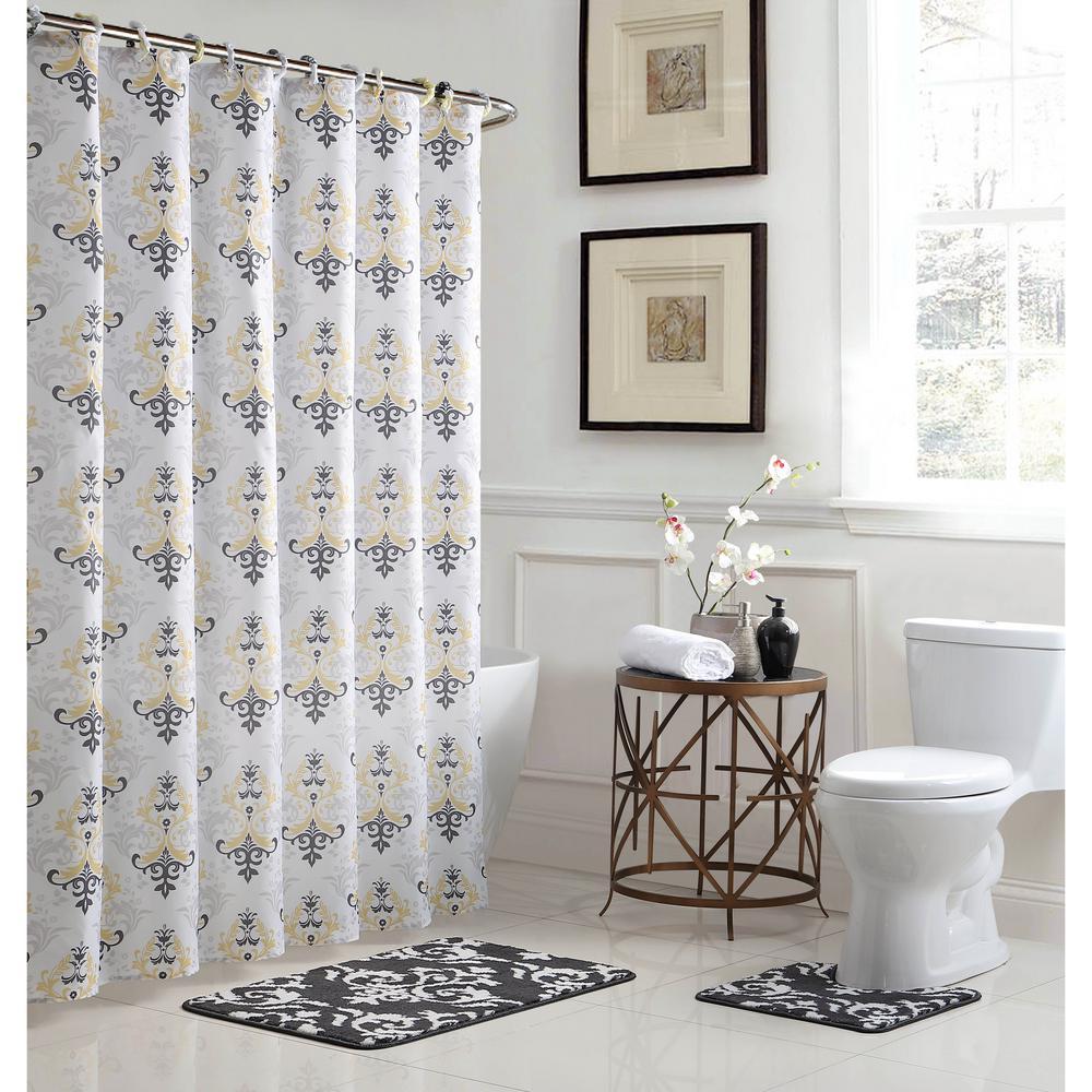 Cameron 18 in. W x 30 in. L Bath Rug Set and 72 in. Wx 72 in. L Shower Curtain Set in Dark Grey