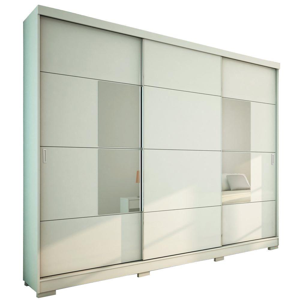 Manhattan Comfort Murphy 3-Door Wardrobe in White High Gloss