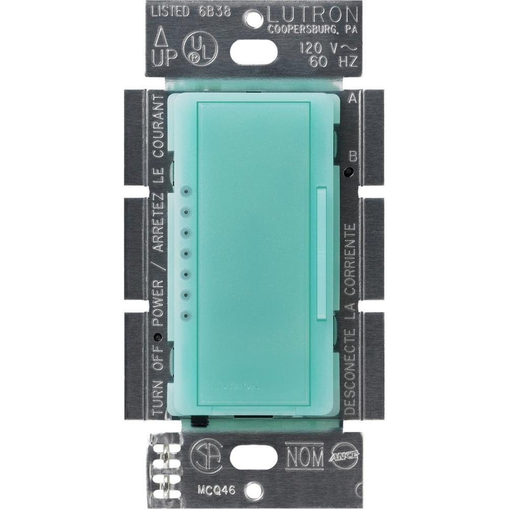 Lutron Maestro 600-Watt Multi-Location Electronic Low-Voltage Digital Dimmer, Sea Glass