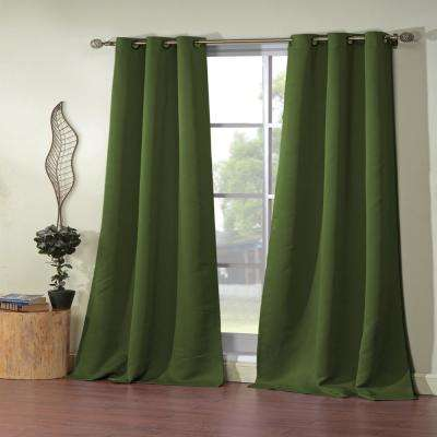 Ashmury 38 in. x 84 in. L Polyester Blackout Curtain Panel in Olive (2-Pack)