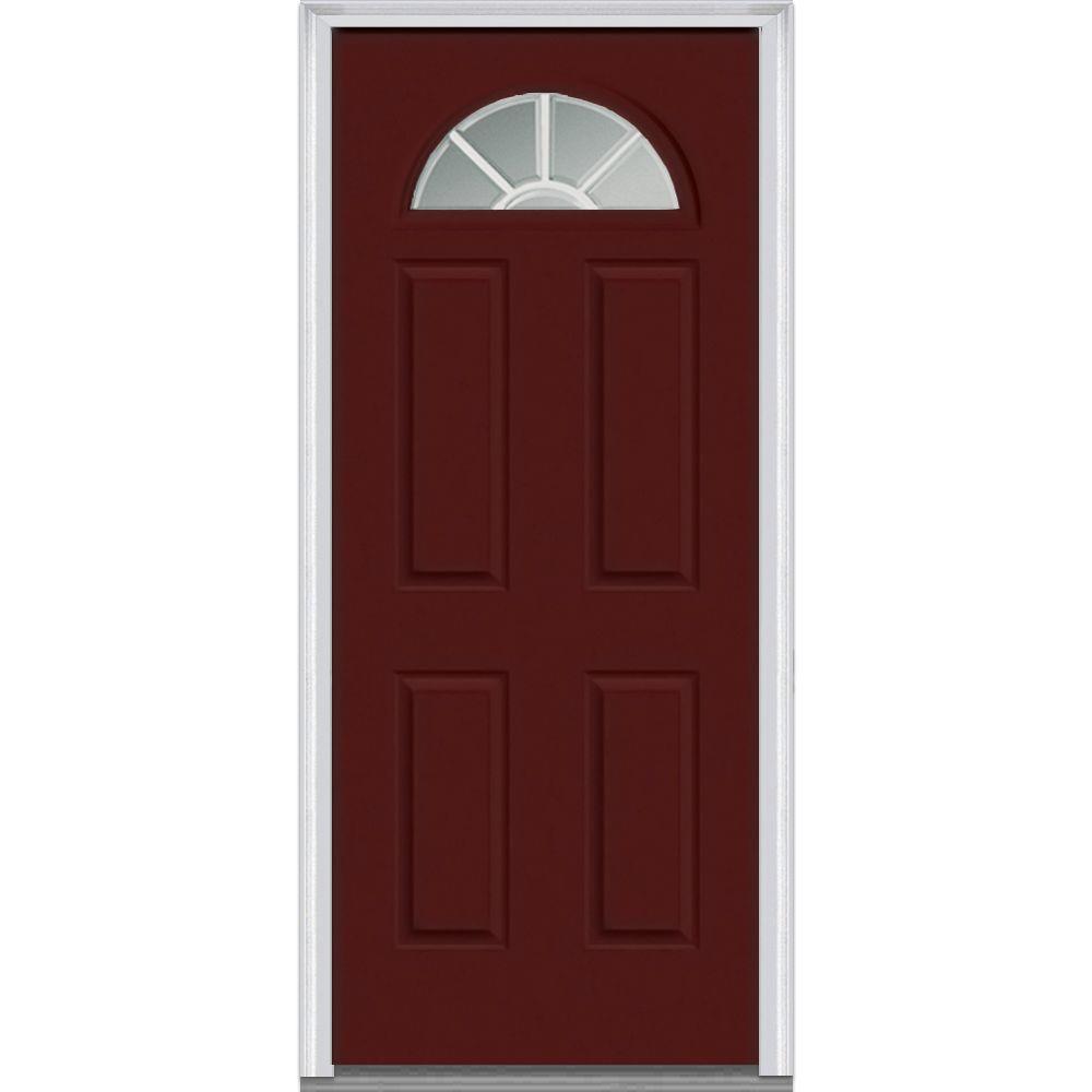 32 in. x 80 in. Grilles Between Glass Left-Hand Inswing 1/4-Lite Clear 4-Panel Classic Painted Steel Prehung Front Door