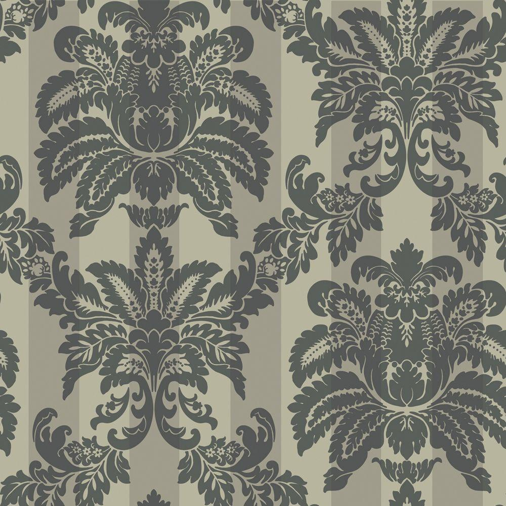 The Wallpaper Company 56 sq. ft. Metallic Suede Damask Stripe Wallpaper
