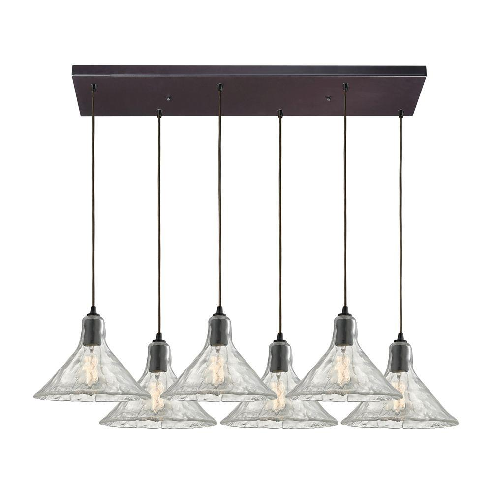 Titan Lighting Hand Formed Glass 6-Light Oil Rubbed Bronze Pendant