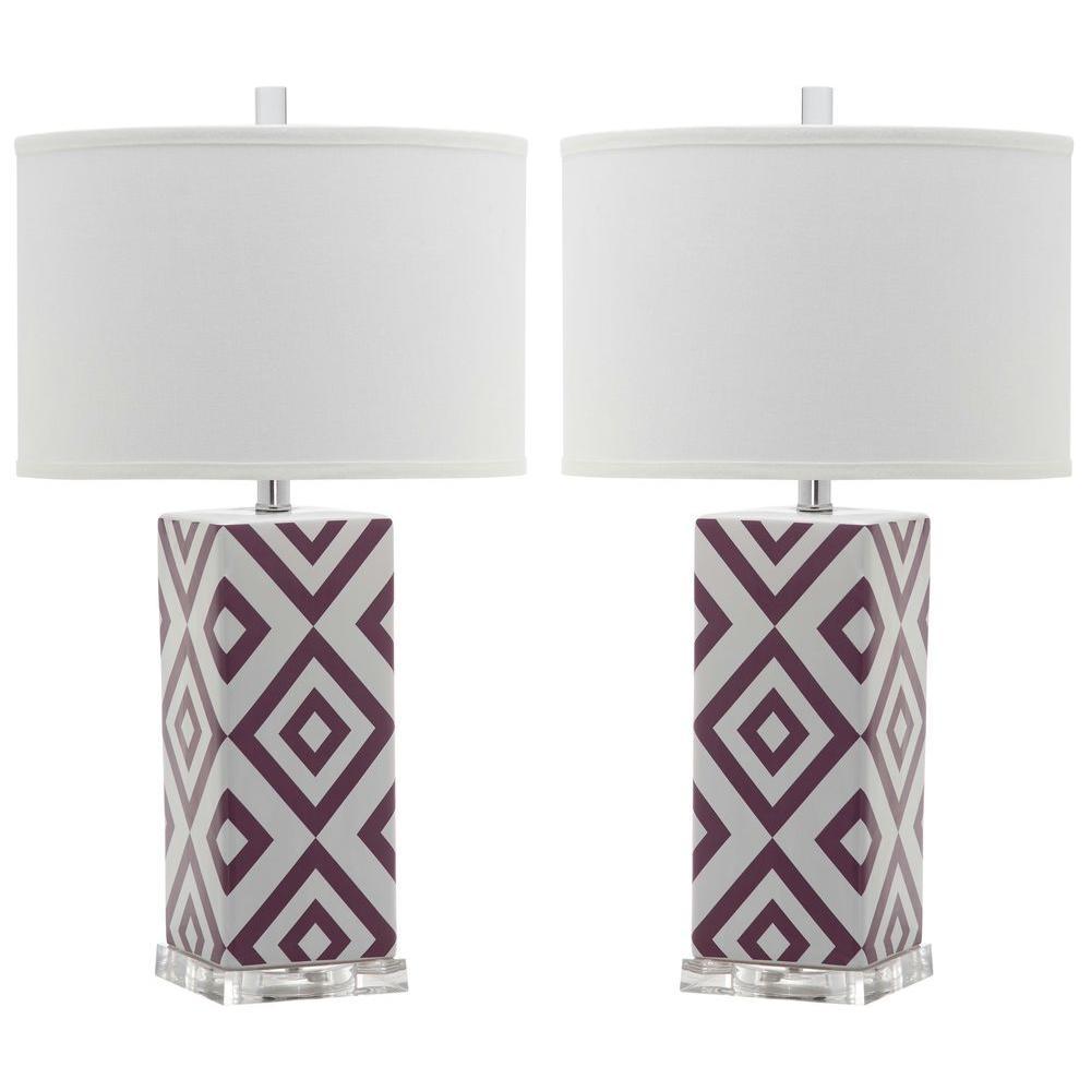 Diamonds 27 in. Light Purple Table Lamp (Set of 2)