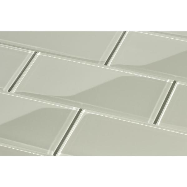 Giorbello Light Gray 3 In X 6 In X 8 Mm Glass Subway Tile 5 Sq Ft Case G5937 The Home Depot