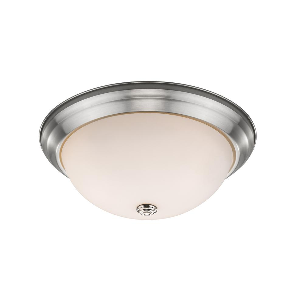 Curran 3-Light 60-Watt Brushed Nickel Flush Mount with Frosted Glass