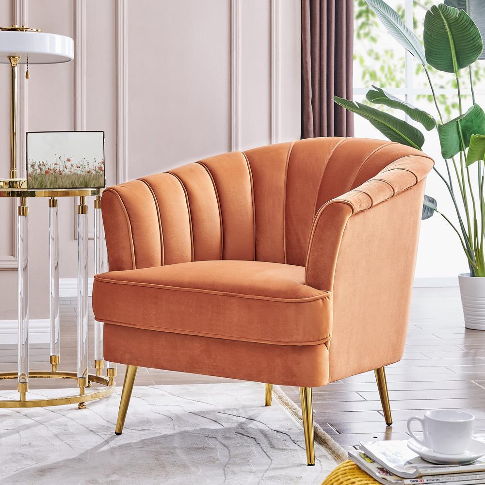 Barrel Velvt Orange Armrest Chair With 4 Four Wood Leg