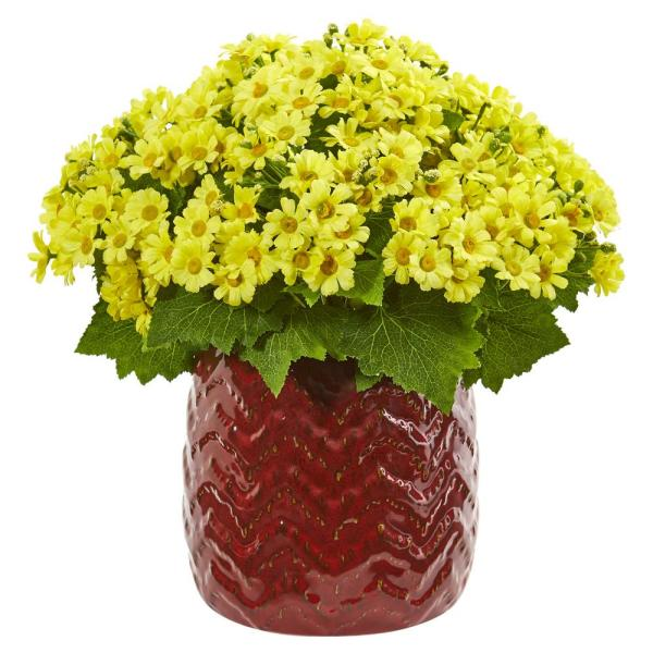 Nearly Natural Indoor Daisy Artificial Arrangement in Red Planter 1875-YL
