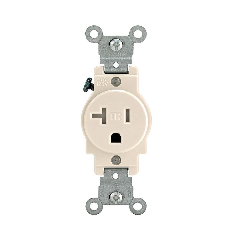 20 Amp 125-Volt Commercial Grade Tamper-Resistant Single Outlet, Light Almond