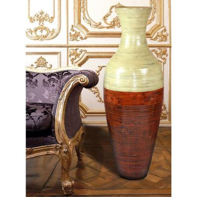 43 in. Reds and Pinks Tall Bamboo Floor Decorative Vase
