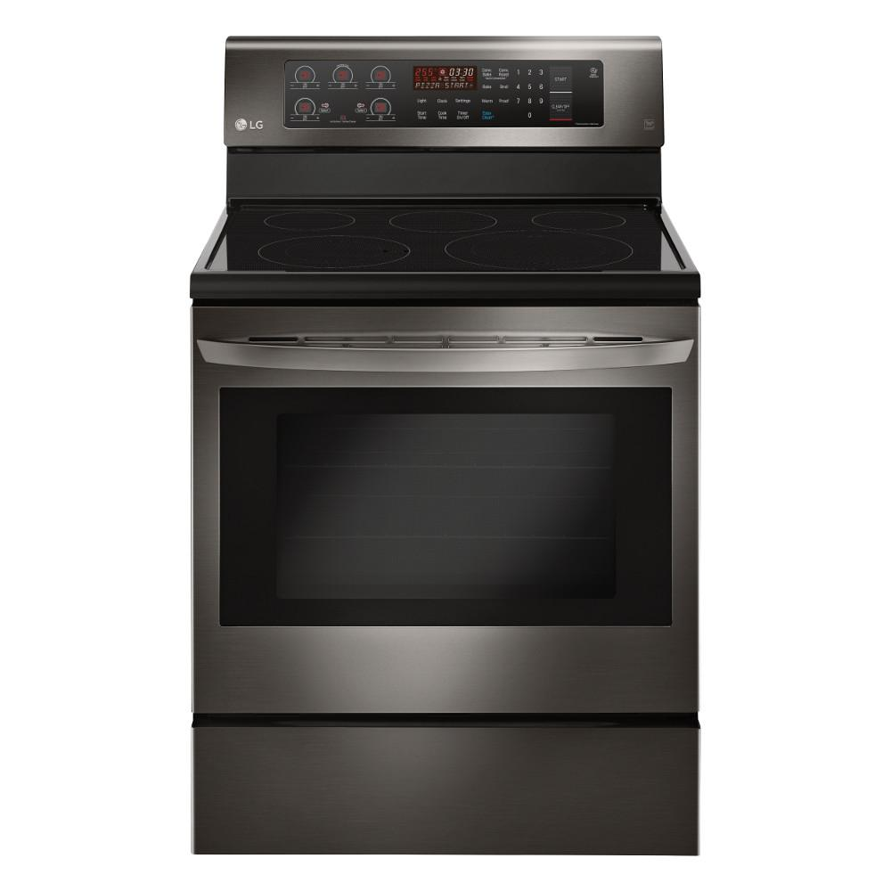 6.3 cu. ft. Electric Range with Convection Oven in Black Stainless