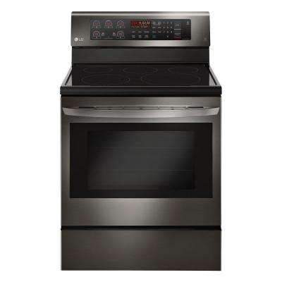 6.3 cu. ft. Electric Range with Convection Oven in Black Stainless Steel