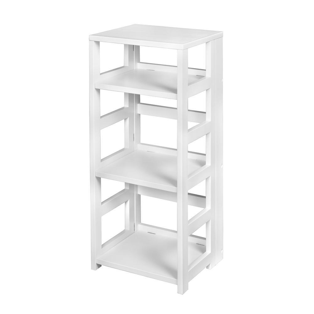 Flip Flop White 3-Shelf Square Folding Bookcase