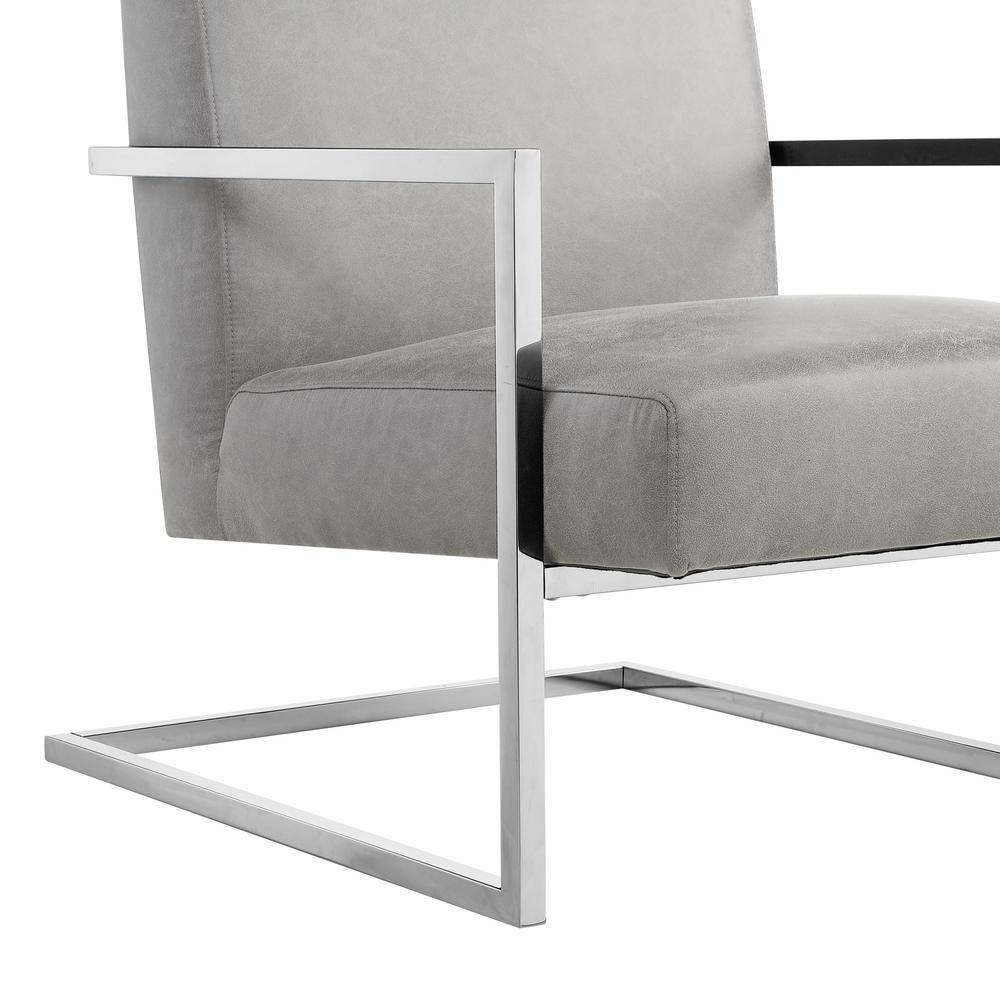 Peachy Nicole Miller Konnor Light Grey Chrome Pu Leather Accent Cjindustries Chair Design For Home Cjindustriesco