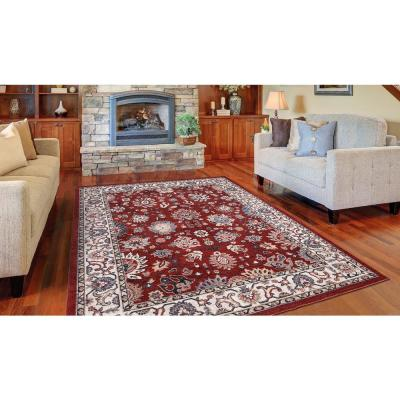 Gramercy Red 6 ft. x 8 ft. Floral Area Rug