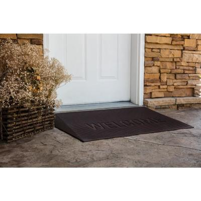 TRANSITIONS Brown 43 in. W x 25 in. L x 2.5 in. H Rubber Angled Entry Door Threshold Welcome Mat