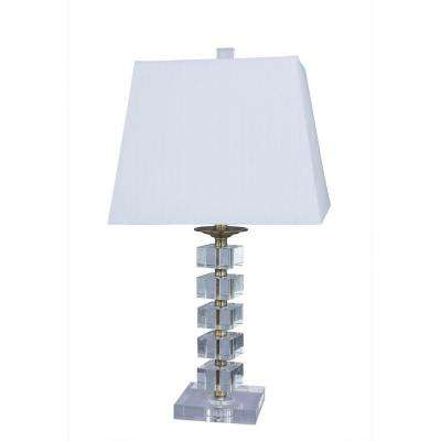 25 in. Antique Brass Crystal and Metal Table Lamp with Crystal Base