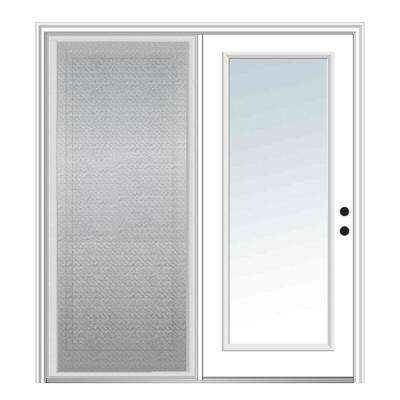 72 in. x 80 in. Primed Fiberglass Prehung Left Hand Inswing Clear Glass Full Lite Hinged Patio Door with Sliding Screen