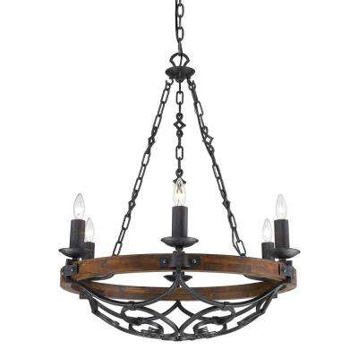 Vargas Collection 6-Light Black Iron Chandelier