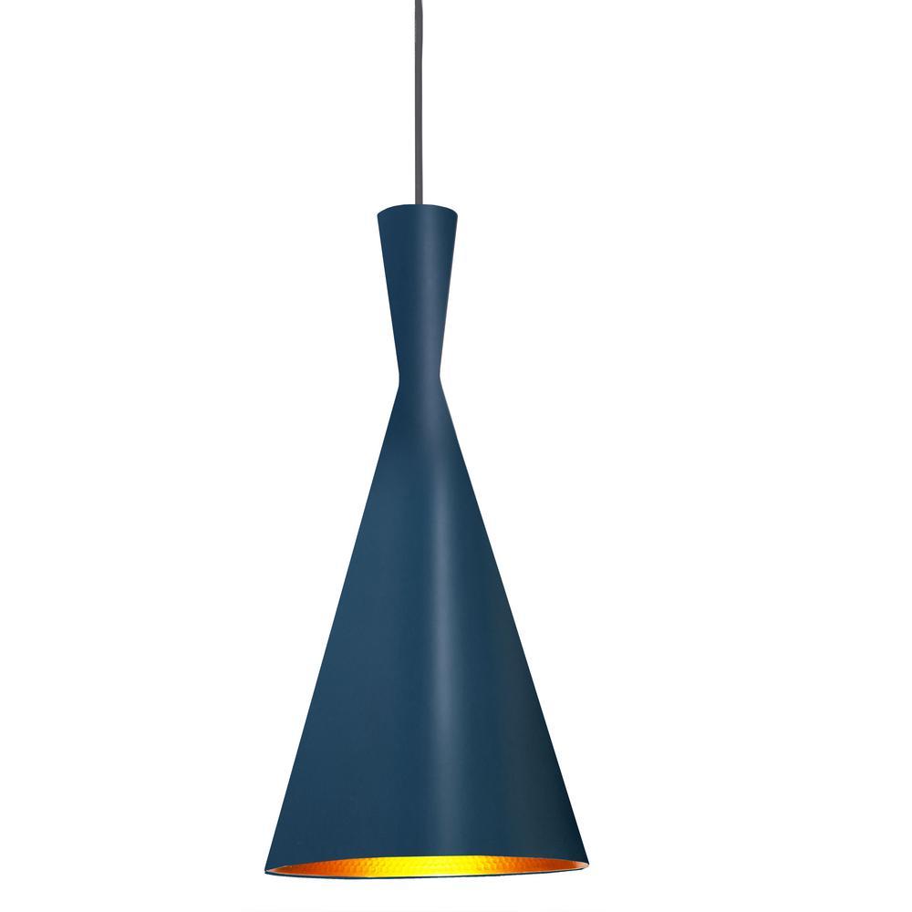 Helsinki 1-Light Blue Pendant with Metal Shade