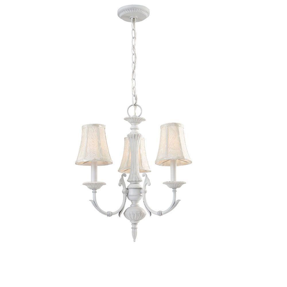 Hampton Bay Laurel Collection 3-Light Rustic White Chandelier