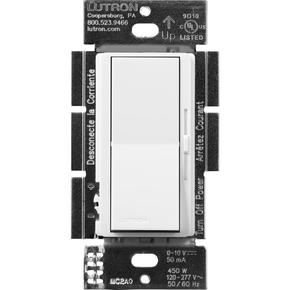 Diva Dimmer for 0-10V LED/Fluorescent Fixtures, Single-Pole or 3-Way, White
